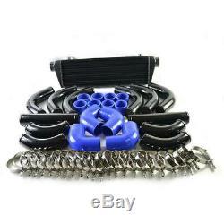 12Pcs 28x7x2.5 BLUE COUPLER + BLACK PIPING+ INTERCOOLER KIT + T-Bolt CLAMPS