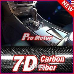 12 x 60 7D Premium Gloss Black Carbon Fiber Vinyl Wrap Bubble Free Release PRO