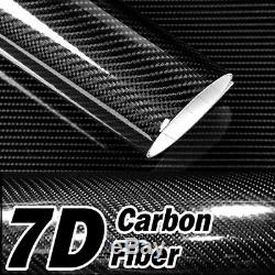 12 x 60 7D Premium Hi Gloss Black Carbon Fiber Vinyl Wrap Bubble Free Release