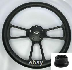 14 Billet Black Steering Wheel with Bowtie Horn For 1969-1994 Camaro Impala