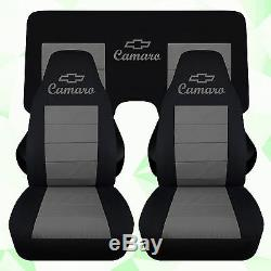1993-2002 chevy camaro car seat covers in black and charcoal cotton material