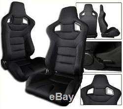 1 Pair Black Cloth Racing Seats Reclinable All Chevrolet