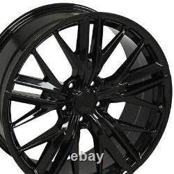 20 Gloss Black Wheels 20x10 +23 / 20x11 +43 Fit Chevrolet Camaro Chevy Set 4