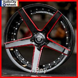 20 MQ 3226 WHEELS BLACK RED MILLED ACCENTS STAGGERED RIMS 5x120 FIT CAMARO SS