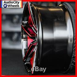 20 MQ 3259 WHEELS BLACK WITH RED INNER STAGGERED RIMS 5x120 FIT CHEVY CAMARO