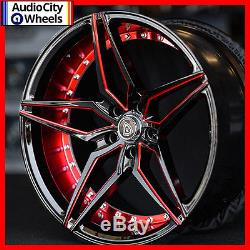 20 MQ 3259 WHEELS BLACK WITH RED STAGGERED RIMS 5x115 FIT DODGE CHALLENGER