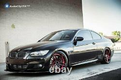 20 Staggered Ac Wheels Ac01 Gloss Black Red Inner Extreme Concave Rims (b84)