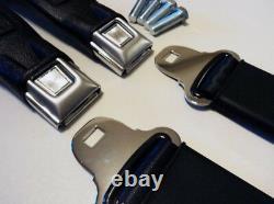 2 Point Sunburst Retractable Lap Black Seat Belts Musclecar Hotrod Resto Kit