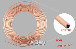 2 Roll Copper 25Ft Steel Zinc 3/16 Brake Line Tubing With 32Pcs Gold Fitting