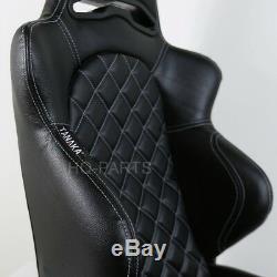 2 Tanaka Black Pvc Leather Racing Seats Reclinable + Diamond Stitch Fits Camaro