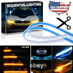 2x 60CM Switchback LED Turn Signal Daytime Running Light Strip Sequential Slim