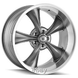 4-Ridler 695 18x8 5x4.75 +0mm Gunmetal Wheels Rims 18 Inch