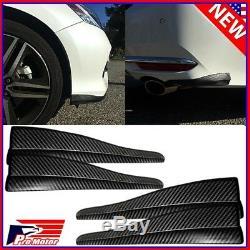 4 x Front Rear Carbon Fiber Bumper Corner Lip Side Scratch Protector Strap Guard