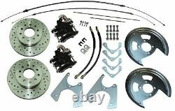 70-81 F Staggered Shock Rear Disc Brake Conversion Kit 10/12 Bolt Cross Drilled