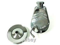 BBC SBC Chevy Chrome Saginaw Style Power Steering Pump with Double Groove Pulley