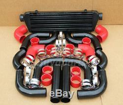 Black Fimc Intercooler+ Piping Kit Red Coupler Clamps E30 E34 E36 E46 E90 325i