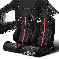 Black PVC Leather/Red Strip/Red Stitch Left/Right Recaro Style Racing Seats