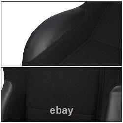 Black Pineapple Fabric/PVC Leather Left/Right Recaro Style Racing Bucket Seats