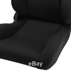 Black Pineapple Seat Fabric Left/Right Type-R Style Racing Bucket Seats + Slider
