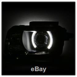 Blk 2010-2013 Chevy Camaro LED CCFL Halo Projector Headlights Halogen Headlamps