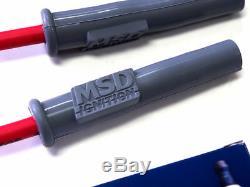 Chevy Ls1 Ls2 Ls3 Ls6 Msd Racing Wires & Iridium Spark Plugs + Free Emblems Red