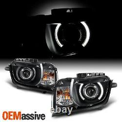 Fit Black 2010 2011 2012 2013 Chevy Camaro CCFL Halo Projector Halogen Headlight