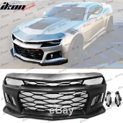Fits 14-15 Camaro 6th Gen ZL1 Style Front Bumper Cover DRL Turn Signal Fog Light