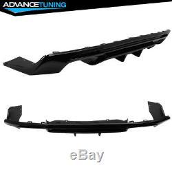 Fits 16-20 Chevy Camaro Rear Bumper Lip Quad Diffuser Glossy Black