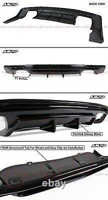 For 16-2020 Chevy Camaro Gloss Black Shark Fin Rear Bumper Diffuser Replacement