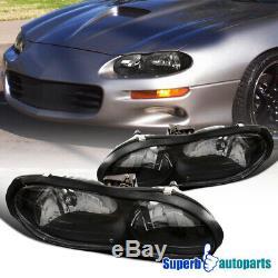 For 1998-2002 Chevrolet Camaro Base Z28 Z28 SS Black Headlights