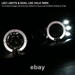 For 1998-2002 Chevy Camaro Black LED Halo Projector Headlights Lamps Left+Right