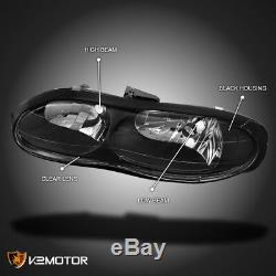 For 1998-2002 Chevy Camaro Black Replacement Headlights Lights Lamps Left+Right