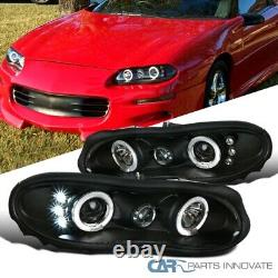 For Chevy 98-02 Camaro LED Halo Black Projector Headlights Head Lamps Left+Right