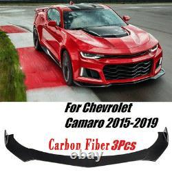 For Chevy Camaro Chevrolet 15-19 Front Bumper Lip Spoiler Splitter Carbon Fiber