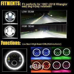For Jeep Wrangler JK TJ LJ Halo RGB 7'' LED Headlights DRL Lights Combo Kit 2PCS