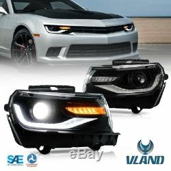 Headlights For 2014 2015 Chevy Camaro LED Sequential DRL Projector Front Lamps