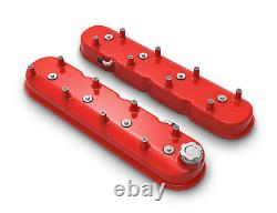 Holley 241-113 Gloss Red Aluminum Tall LS Valve Covers Chevy LS1 LS2 LS3 LS6