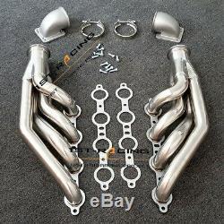 LS1 LS6 LSX GM V8 Turbo Exhaust Header Manifold+2PCS Elbows T3 T4 TO V Band 3.0