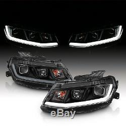 Light Bar 2016-2018 Chevy Camaro Black LED Bar Square Projector Headlights