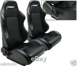 NEW 2 BLACK LEATHER RACING SEATS RECLINABLE With SLIDER ALL CHEVROLET