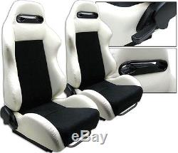 NEW 2 WHITE & BLACK RACING SEATS RECLINABLE With SLIDERS ALL CHEVROLET