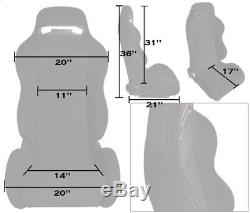 NEW 2 WHITE /& BLACK RACING SEATS RECLINABLE W// SLIDERS ALL CHEVROLET ****