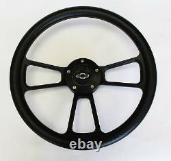 Nova Chevelle Monte Carlo Steering Wheel Black on Black 14 Bowtie Cap