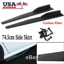 Pair 74.5cm Car Carbon Fiber Side Skirt Rocker Splitters Diffuser Winglet Wings