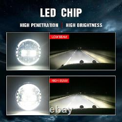 Pair DOT 7 inch Round Black LED Headlights For Jeep Wrangler JK TJ CJ JL 97-2018
