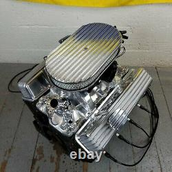SB Chevy 15 Finned AC Engine Dress Up Kit Tall Valve Covers Breathers 283 350 8
