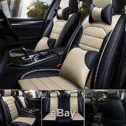 US Luxury 5-Seats Car Seat Cover PU Leather Front&Rear SUV Cushion Set Universal