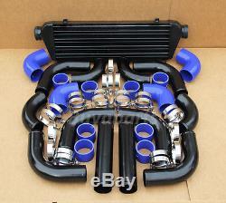 Universal 12 pcs 2.5' BLUE COUPLER+ BLACK PIPING+ INTERCOOLER KIT+T-Bolt CLAMPS