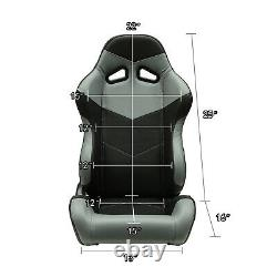Universal Black/Grey PVC Leather Left/Right Sport Racing Bucket Seats + Slider