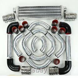 Universal Black-RED Couplers+28 Intercooler +2.5 Aluminum Piping Pipe Kit